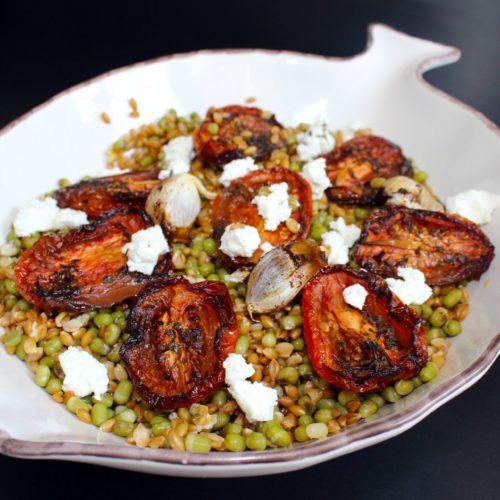 Salade haricots mungo tomates confites